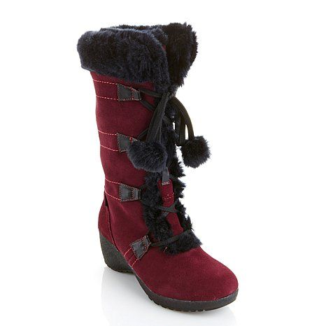 Savannah  Sporto® Waterproof Suede Tall Boot with Pom Poms