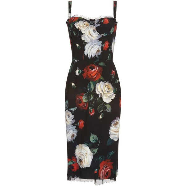 Dolce & Gabbana Floral Cocktail Dress ($2,395) ❤ liked on Polyvore featuring dresses, dolce & gabbana, floral, strap dress, flower print dress, strappy midi dress, sweetheart neckline cocktail dress and floral print cocktail dress