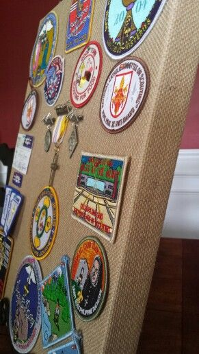 A no sew way to display patches for Brian's court of honor.