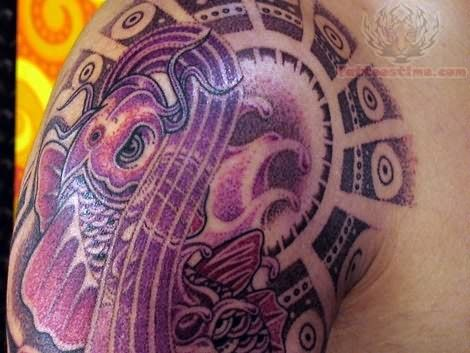 Koi Purple Ink Tattoo