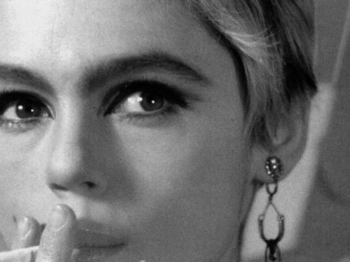 "Edie Sedgwick in Andy Warhol's Screen Tests (1966), which were originally conceived as ""living portraits"""