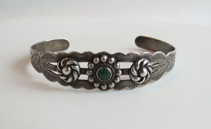 silver arrow floral Fred Harvey sterling silver turquoise sterling cuff bracelet