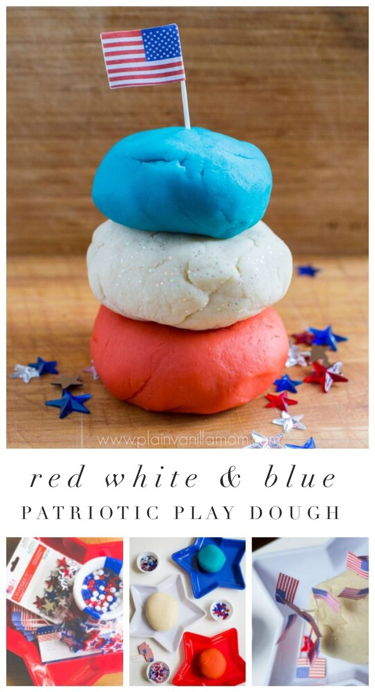 Red White & Blue Play Dough. A Patriotic Invitation to Play fun for summer holidays.