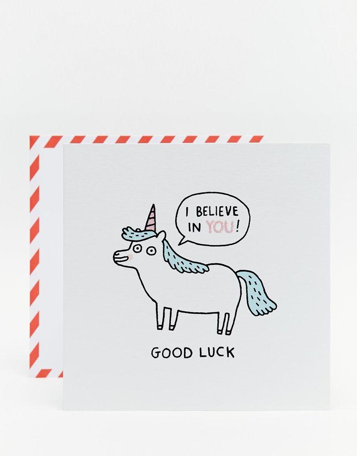 Ohh Deer Gemma Correll Unicorn Good Luck Card