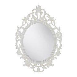 VIKERSUND, Mirror, oval, white ---pour la salle de bain au RC!!??? Avec le papier peint messemble??!!