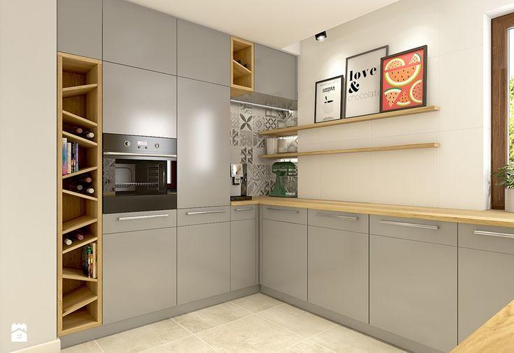 Satynowa szarość, biel i drewno - Aranżacje wnętrz - Kuchnia: Średnia kuchnia, styl nowoczesny - WERDHOME. Przeglądaj, dodawaj i zapisuj najlepsze zdjęcia, pomysły i inspiracje designerskie. W bazie mamy już prawie milion fotografii!