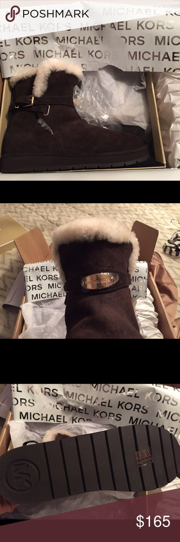 Brand New Michael Kors fur ankle boots in brown Brand new! Chocolate Michael Kors winter ankle boots with fur. Super warm Michael Kors Shoes Winter & Rain Boots