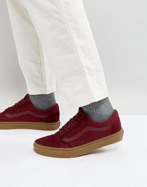 Vans Old Skool Sneakers With Gum Sole In Red VA38G1POB