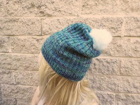 Luxury knitted slouchy beanie in aqua blue merino with mint fur pompom, handmade from pure New Zealand wool by Cornflake Purl on Etsy
