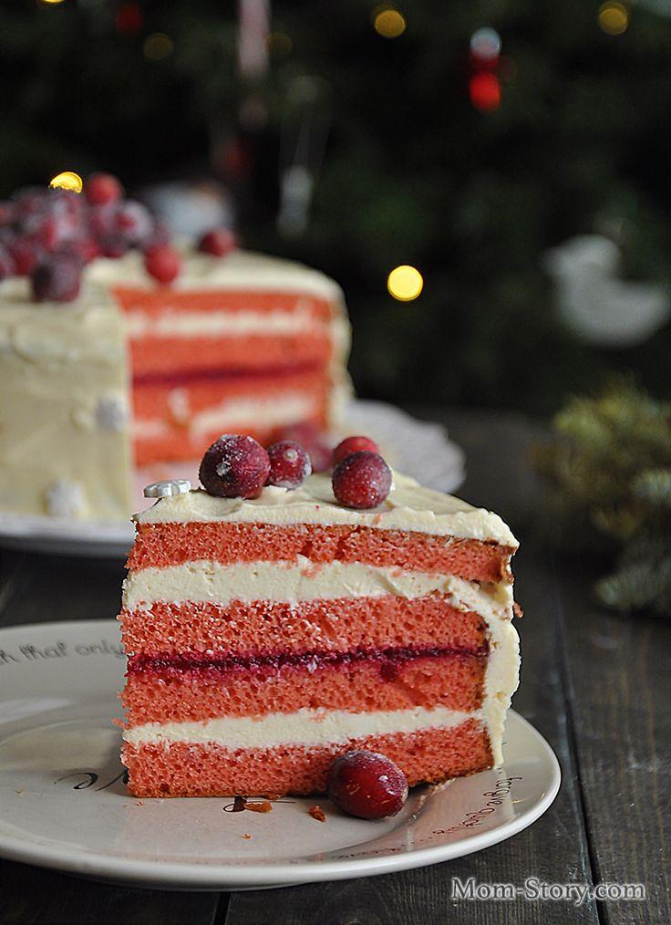 Рождественский клюквенный торт с белым шоколадом рецепт с пошаговыми фотографиями. очень вкусный, красивый торт с клюквой