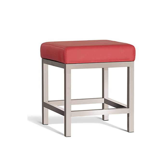 Quadro Stool Brush Frame 450mm with Red Cushion