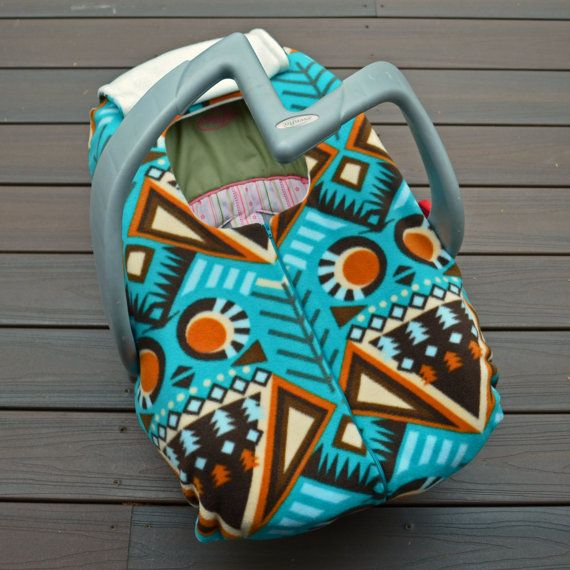 Tribal Baby Car Seat Cover in Teal Rust Ivory and by sophiemarie