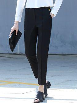 Black Simple Pockets Straight Leg Pants