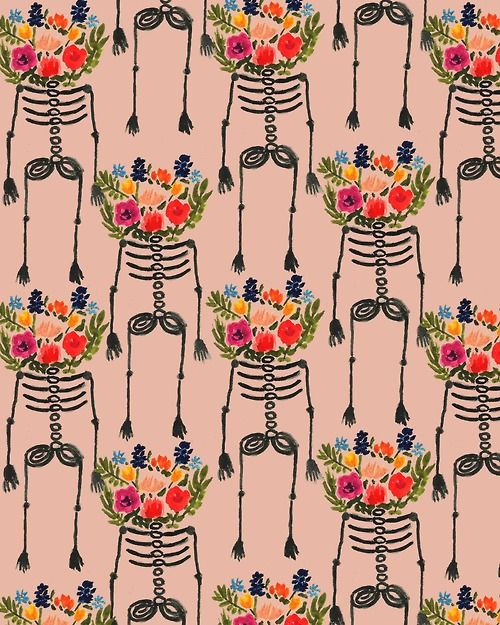 Skeleton and Flowers. #illustration #pattern