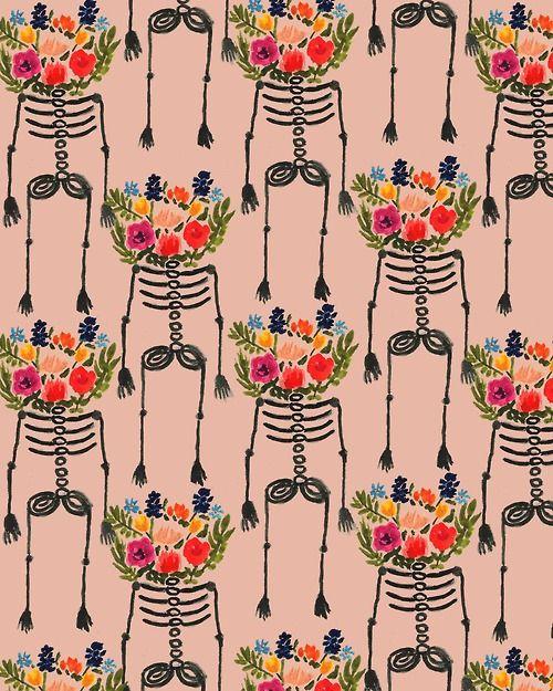 Skeleton and Flowers. #illustration #pattern