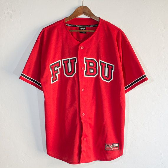 Retro FUBU Red Baseball Jersey - Large