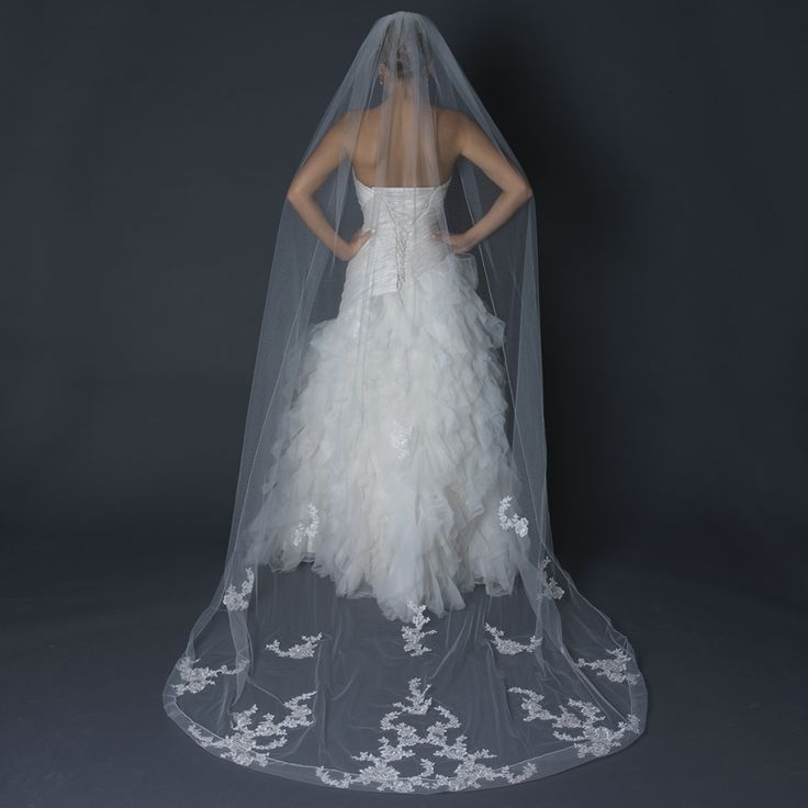 Cathedral length wedding veil with lace embroidery