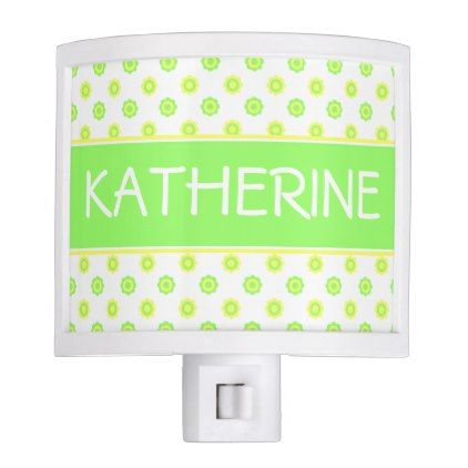 Yellow and Green Polka Dot Flowers Personalized Night Light - kids kid child gift idea diy personalize design