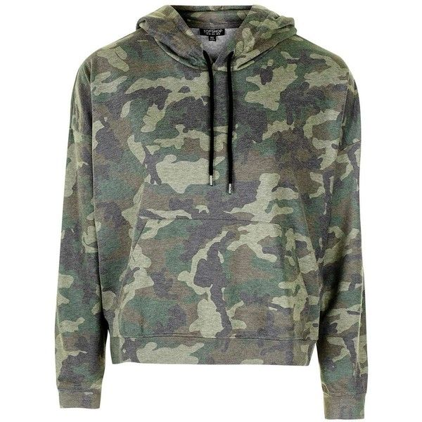 TopShop Petite Camo Print Hoodie ($50) ❤ liked on Polyvore featuring tops, hoodies, petite hoodies, camo top, camouflage hooded sweatshirt, relaxed fit tops and topshop