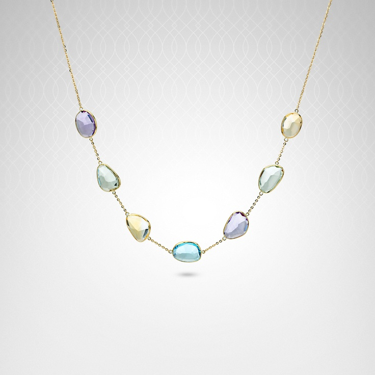 Multi-color gemstone necklace in 14k yellow gold: 14K Yellow, Yellow Gold, Multi Color Gemstone, Gemstone Necklace