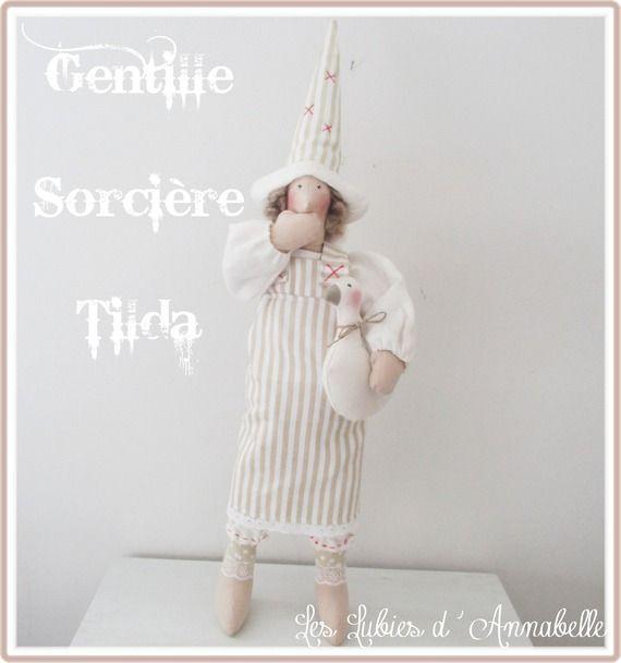 Poupée Tilda Gentille Sorcière Style Shabby Chic et son oie 57 cm