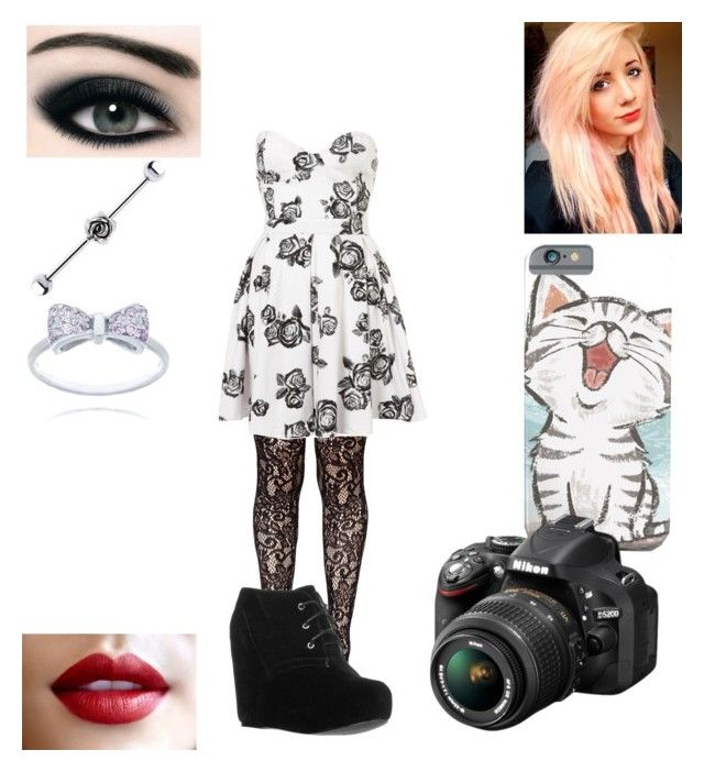 """Valene28518"" by x-2manybands-x ❤ liked on Polyvore featuring Leg Avenue, Motel, even&odd and Nikon"