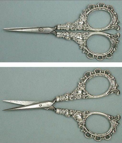 Ornate Antique English Sterling Silver Embroidery Scissors | Scissors/ Scharen | Pinterest ...