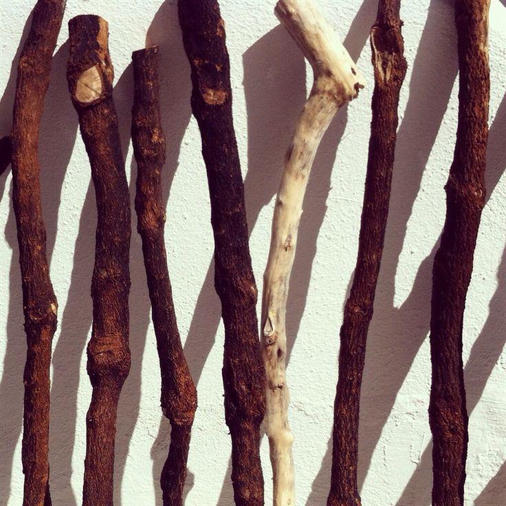 cabinets: wood hanging sticks
