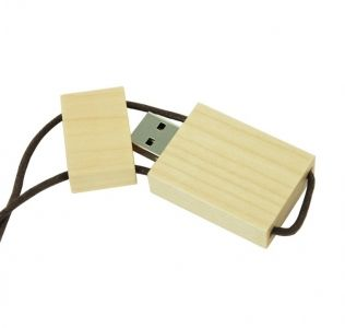 Promotional Wooden USB with leather cord