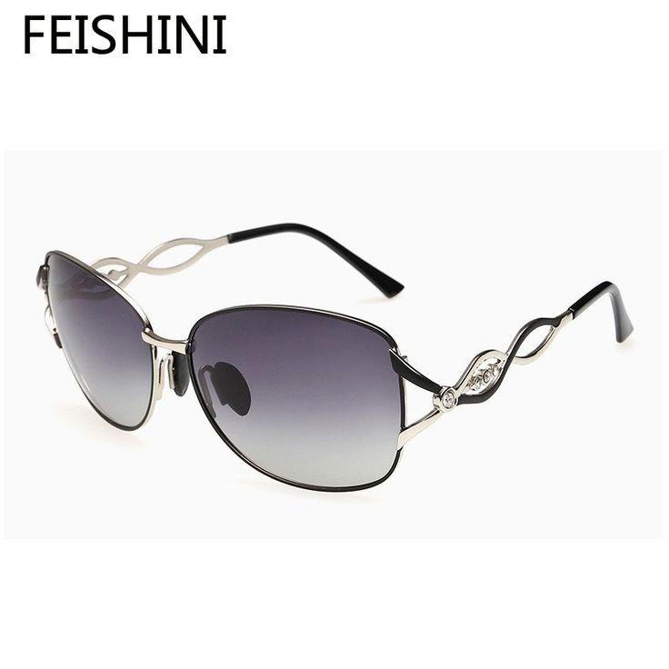 FEISHINI Metal Decorative Pattern Most Popular Sunglasses Women Polarized UV High Quality Elegant Glasses Brand Designer 2017