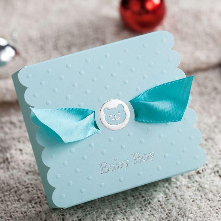 Ucuz 50 adet/grup Sevimli Ayı Erkek Bebek Doğum Günü Partisi Duş Mavi Tatlı Çanta şerit Lazer Kesim Şeker Kutusu…