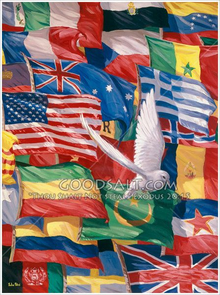 A dove flying over many different flags.