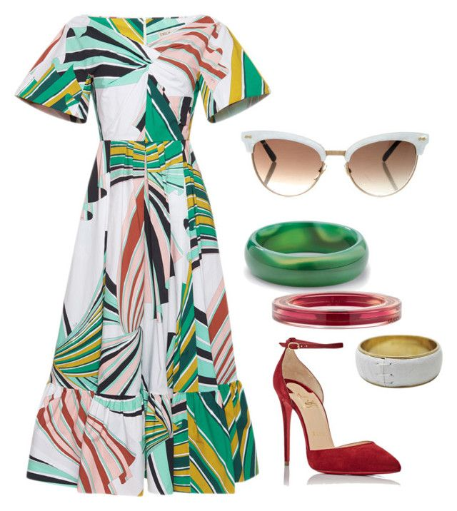 Untitled #823 by alison-tann on Polyvore featuring Emilio Pucci, Christian Louboutin, Palm Beach Jewelry, Gucci and Dolce&Gabbana