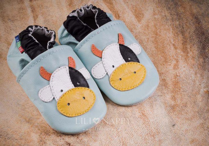 Carozoo chaussons cuir Chaussons cuir souple Cow fond bleu Carozoo-32