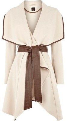 Olivia Pope! Faux Leather Trim Belted Drape Coat ❤