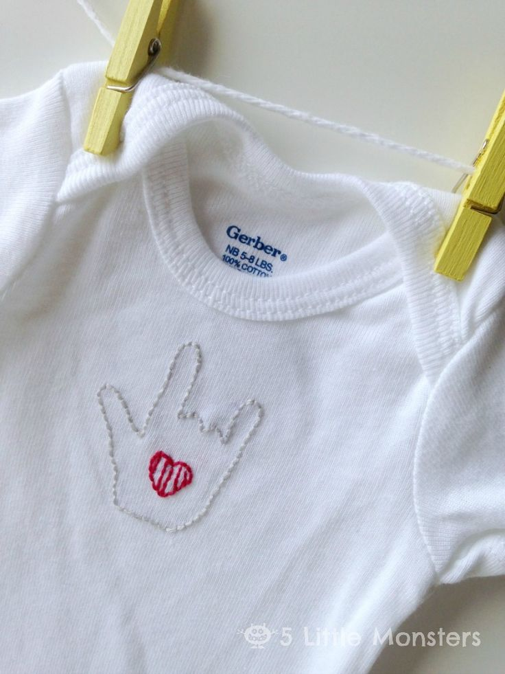5 Little Monsters: Handmade Baby Gift: Embroidered Onesies