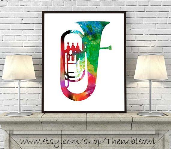 Music Art Print music poster Tuba Brass Instrument