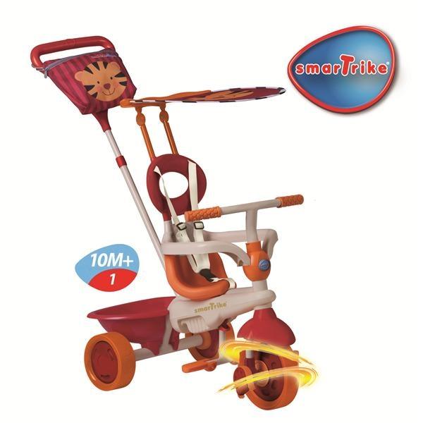 """http://idealbebe.ro/smart-trike-tricicleta-safari-in-tiger-touch-steering-p-14634.html    - Suport sustinere picioare pliabil (pentru copii incepand de la 10 luni)    - Tricicleta construita integral din metal    - Bara siguranta detasabila, centura de siguranta, scaun cu spatar inalt    - Sistem blocare/deblocare a pedalelor – sistem """"roata libera""""    - Tehnologie """"Roata Lina"""" pentru confort in manevrare"""