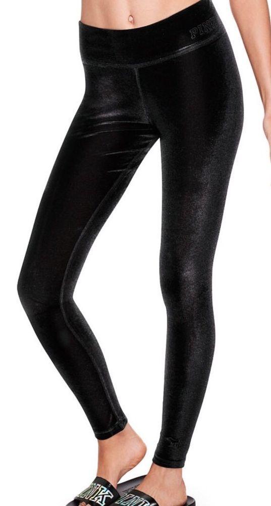 8c801d5c991271 New Victoria's Secret PINK Flat Velvet Legging SIZE Medium Black Nwt | eBay