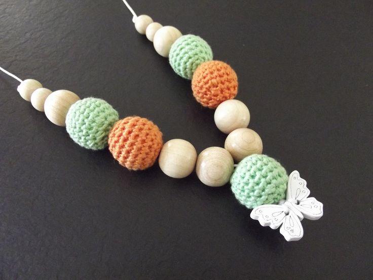 Collier d'allaitement Vert Orange Papillon Blanc SUR DEMANDE Modèle Christelle : Puériculture par lileauxbijoux