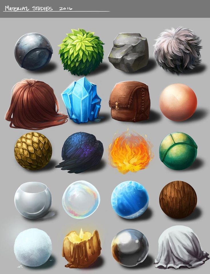 """Material Studies"" - by Mell Variety of materials/textures."