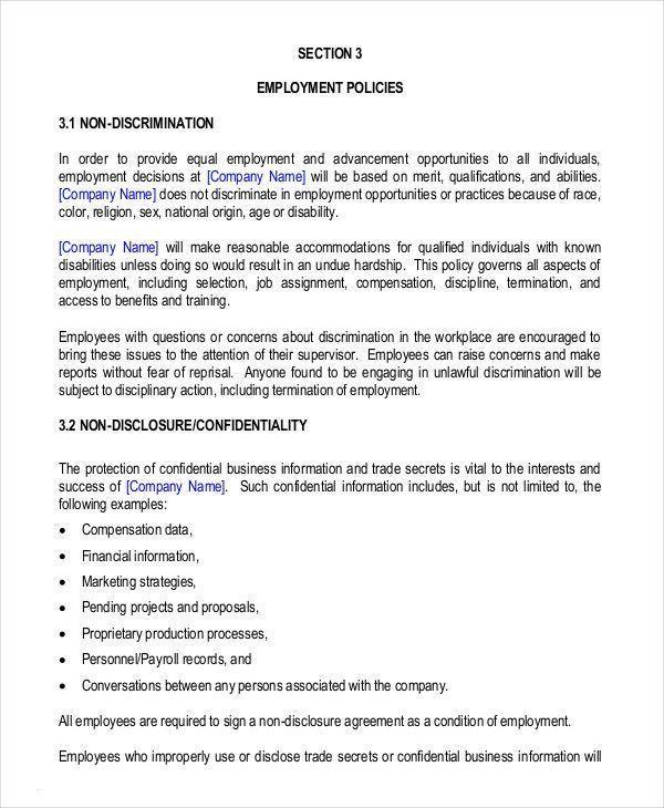 Free Employee Handbook Template Incredible Employee Theft Policy