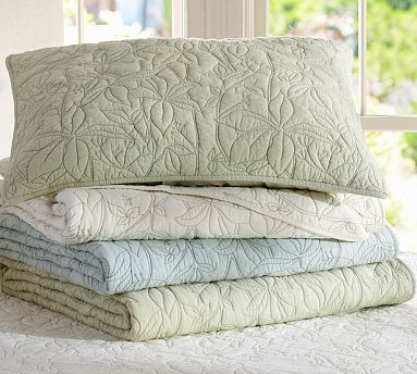 """Master and Guest: Blue? Jardin Organic Quilt & Sham#potterybarn: sale $14.99 – $159.00 Online; Twin: 68 x 86"""" Full/Queen: 92 x 88""""; Sham; Standard: 20 x 26""""; Euro: 26"""" square; organic cotton.Quilt and sham reverse to same.Quilt, sham and insert sold separately. Machine wash.."""