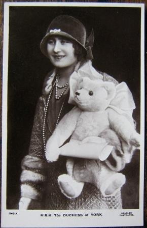 Original postcard of Duchess of York (Queen Mum) with Farnell Teddy Bear: