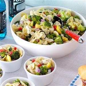 Garden Bow Tie Salad Recipe from Taste of Home -- shared by Barbara Burks of Huntsville, Alabama