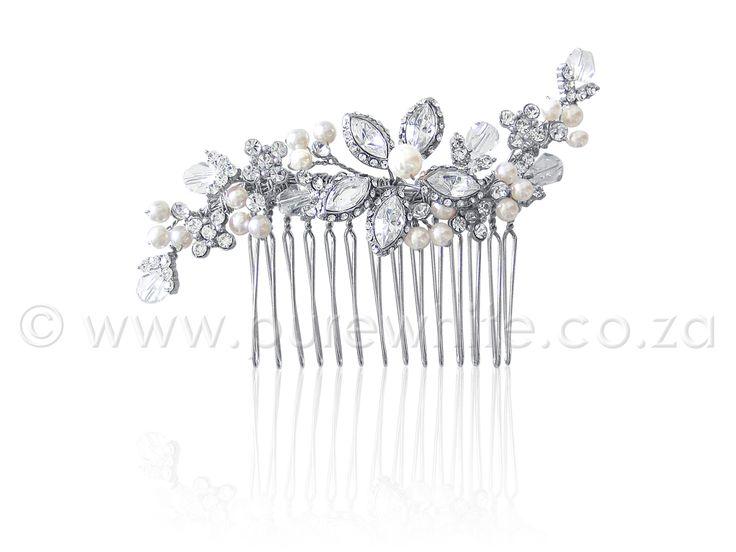 PURE WHITE - Floral Rhinestone  http://www.purewhite.co.za/floral-rhinestone-faux-pearl-haircomb-5-021/
