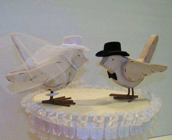 Western Bride and Groom Cake TopperWood Birds by sugarplumcottage, $45.00~omg too cute!