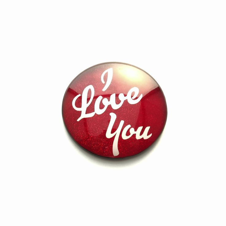 """Valentine's Day """"I Love You"""" Glitter Red and White Hand Painted Round Glass Cabochon, 1.5"""" (38mm), Pendant, Unique, Key Chain, by TheChaoticMindStudio on Etsy"""