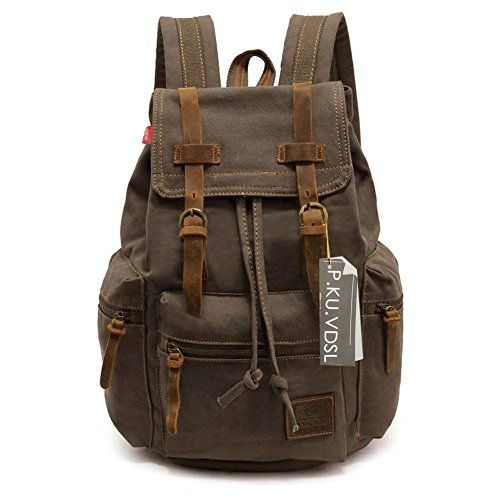 Canvas Backpack, P.KU.VDSL-AUGUR SERIES Knapsack Rucksack Hiking Mountaineering Daypacks Retro for Men