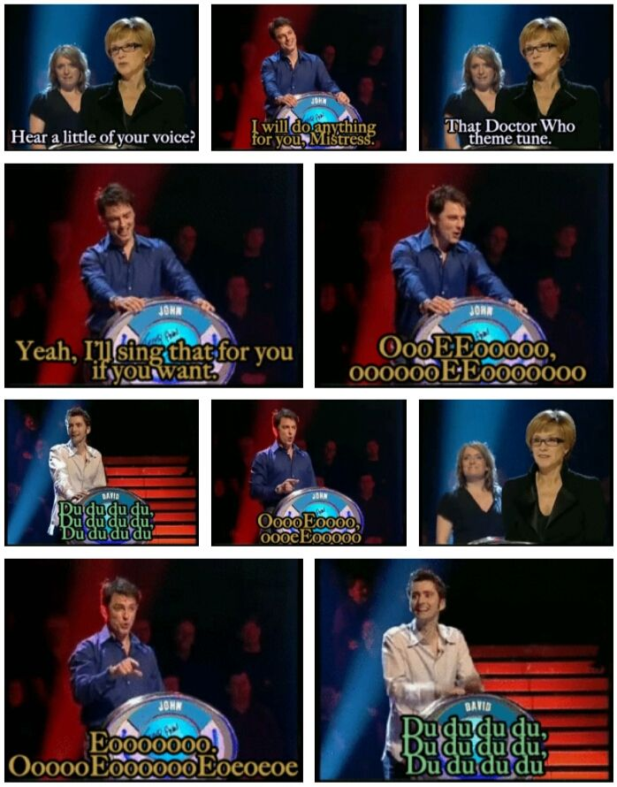 Doctor Who: John Barrowman sings the Doctor Who theme. (gif) David Tennant accompanies